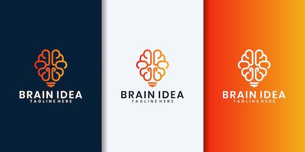 Logotipo da ideia de combinação de lâmpada criativa com cérebro