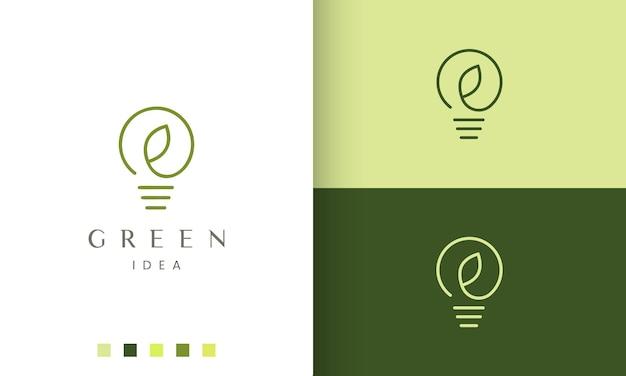 Logotipo da ideia fresca em estilo simples e moderno com lâmpada e formato de folha