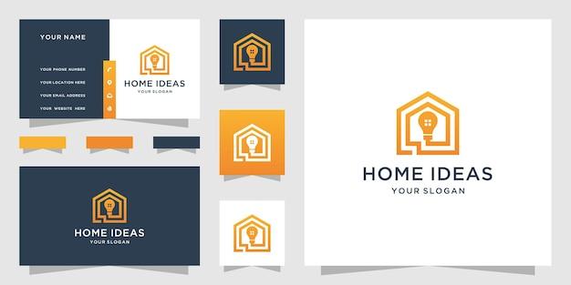 Logotipo da ideia para casa e design de cartão de visita