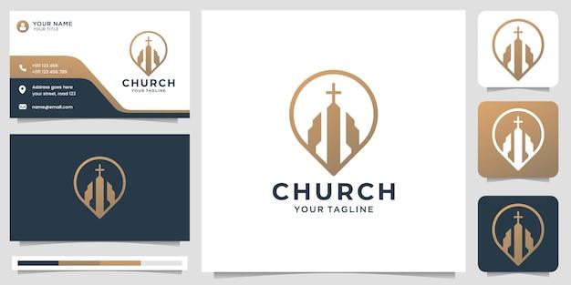 Logotipo da igreja com localização do pino design minimalista símbolo da igreja e modelo de vetor marcador de mapa e design de cartão de visita premium vector
