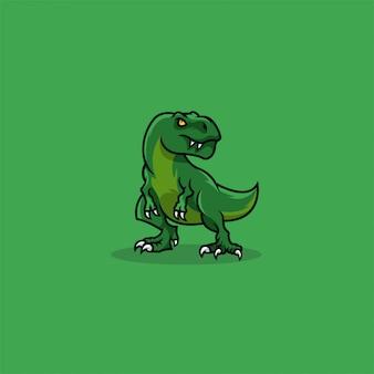 Logotipo da ilustração bonito dos desenhos animados de t rex.