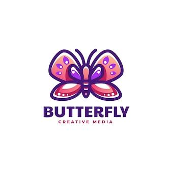 Logotipo da ilustração borboleta estilo mascote simples