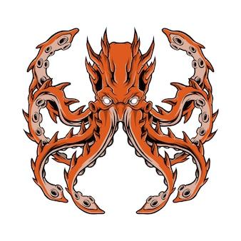 Logotipo da ilustração da arte do monstro kraken