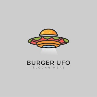 Logotipo da ilustração da burger ufo fast food delivery Vetor Premium