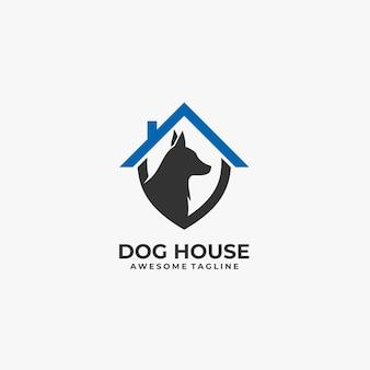 Logotipo da ilustração da casa de cachorro.