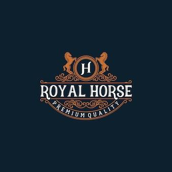 Logotipo da ilustração da marca do cavalo vintage