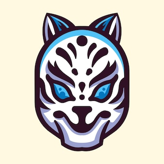 Logotipo da ilustração da máscara japonesa kitsune