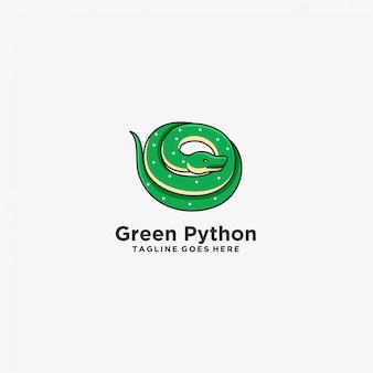 Logotipo da ilustração da mascote da cor verde do pitão.