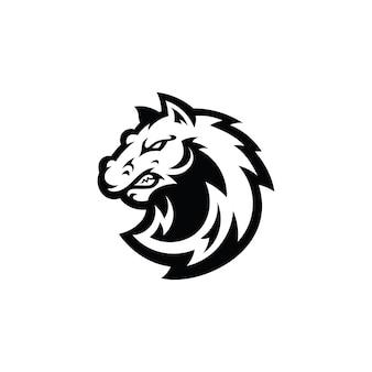 Logotipo da ilustração da mascote dos desenhos animados da cabeça do cavalo garanhão mustang em preto e branco