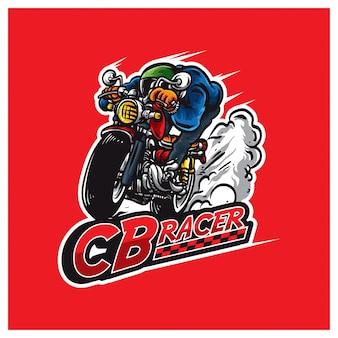Logotipo da ilustração da moto de corrida
