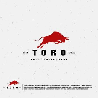 Logotipo da ilustração da silhueta da toro