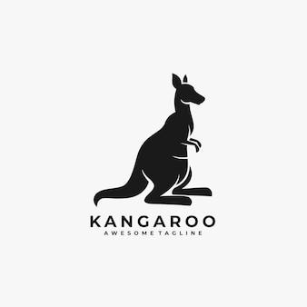 Logotipo da ilustração da silhueta de canguru.