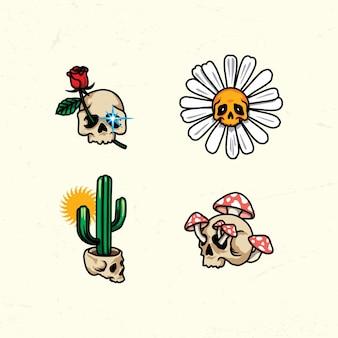 Logotipo da ilustração da variação do crânio