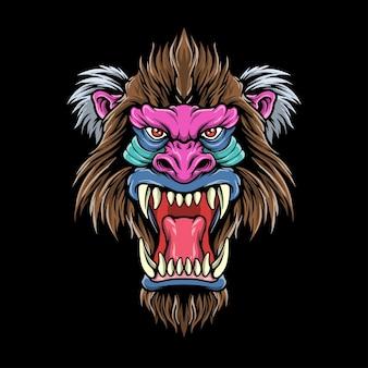 Logotipo da ilustração de chefe de babuíno