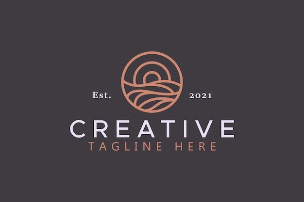 Logotipo da ilustração de sol e onda