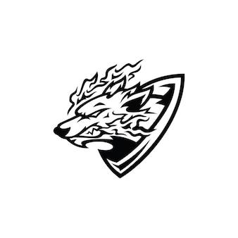 Logotipo da ilustração do emblema do escudo fox irritado na cor preta