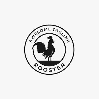 Logotipo da ilustração do emblema do galo.