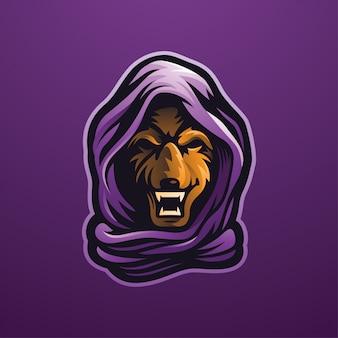Logotipo da ilustração do hoodie do lobo