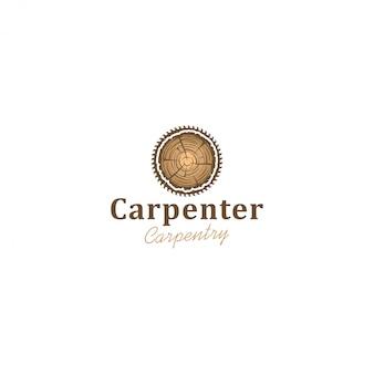 Logotipo da indústria capenter, serra circular para toras de madeira