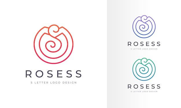 Logotipo da infinity modern rose flower s letter arte empresa design de logotipo de restaurante de negócios