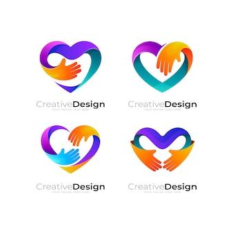 Logotipo da instituição de caridade com design de amor, logotipos de amor e mão