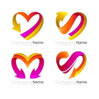 Logotipo da instituição de caridade com ícones de amor e seta de modelo de design de amor