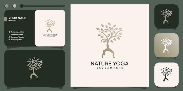 Logotipo da ioga com conceito de árvore da natureza premium vector