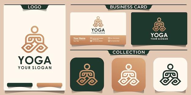 Logotipo da ioga e cartão de visita em estilo linear.