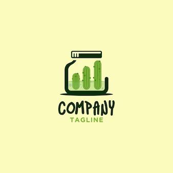 Logotipo da jarra de picles com gráfico de barras para a empresa