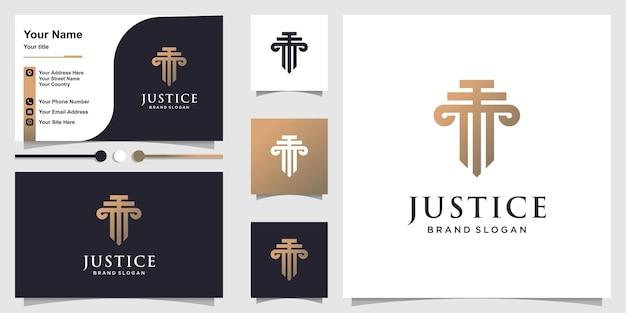 Logotipo da justiça com conceito moderno de contorno e design de cartão de visita