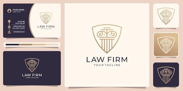Logotipo da justiça criativa com design de conceito de forma de escudo. modelo de logotipo e cartão de visita.