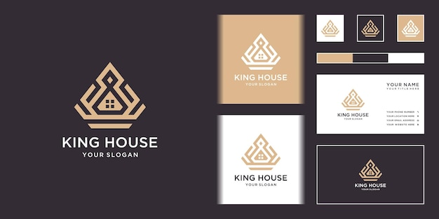 Logotipo da king house e design de cartão de visita