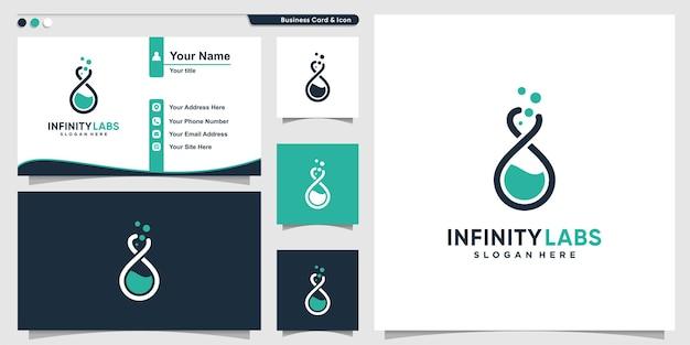 Logotipo da labs com estilo de arte de linha infinita e modelo de design de cartão de visita premium vector