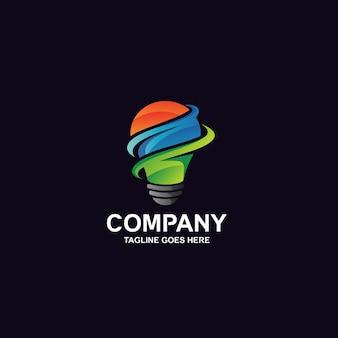 Logotipo da lâmpada bulbo colorida