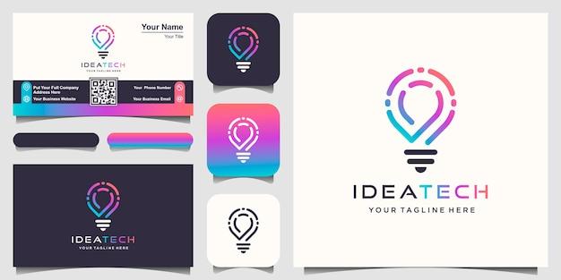 Logotipo da lâmpada bulbo inteligente criativo.