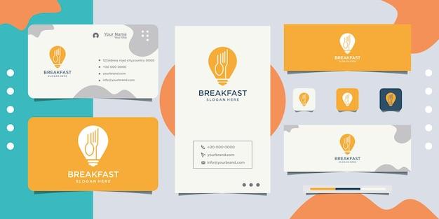 Logotipo da lâmpada de design de logotipo de comida saudável e cartão de visita