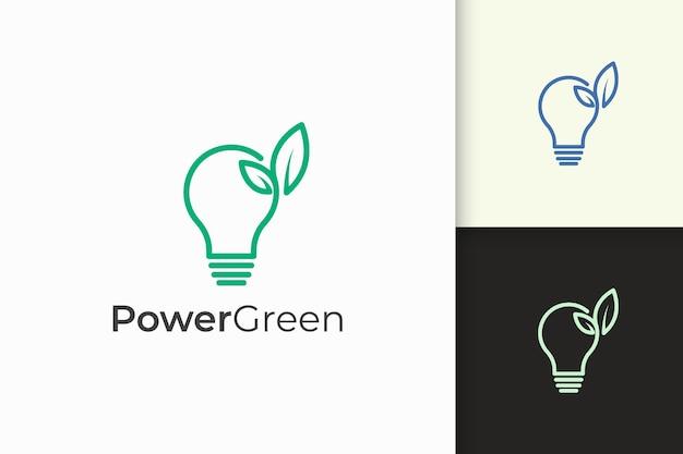 Logotipo da lâmpada e folha em minimalista e moderno para tecnologia