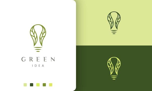 Logotipo da lâmpada natural em estilo simples e moderno
