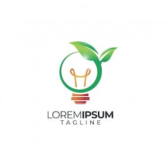 Logotipo da lâmpada natureza