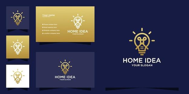Logotipo da lâmpada para casa criativa e design de cartão de visita