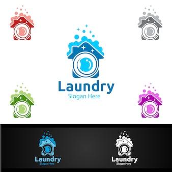 Logotipo da lavanderia a seco com design de conceito de roupas, água e lavagem