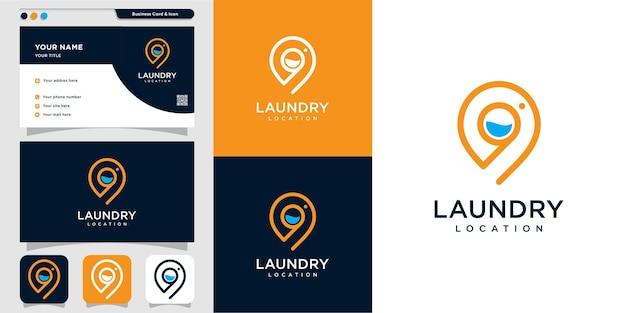 Logotipo da lavanderia com conceito de localização vector premium