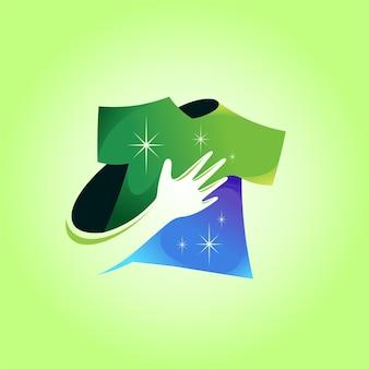 Logotipo da lavanderia com conceito de mão