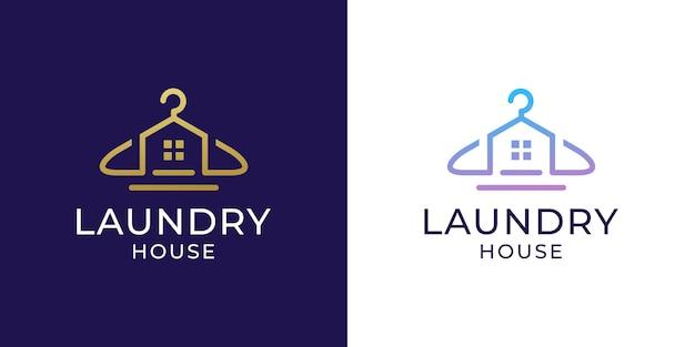 Logotipo da lavanderia com design de cabide