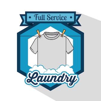 Logotipo da lavanderia emblema emblema