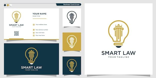 Logotipo da lei com estilo de símbolo inteligente e modelo de cartão de visita