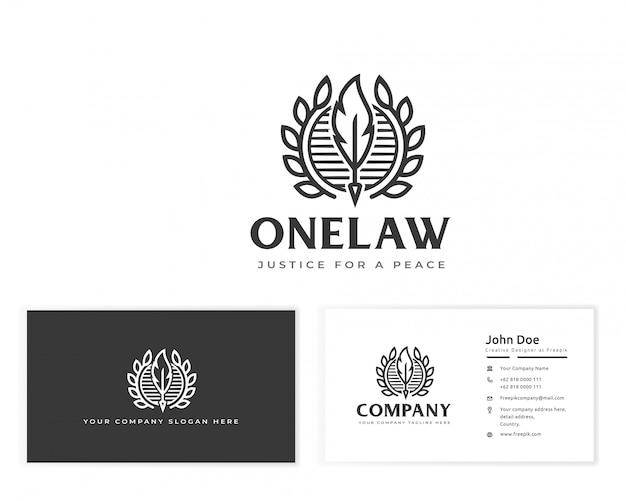 Logotipo da lei de penas com artigos de papelaria cartão de visita