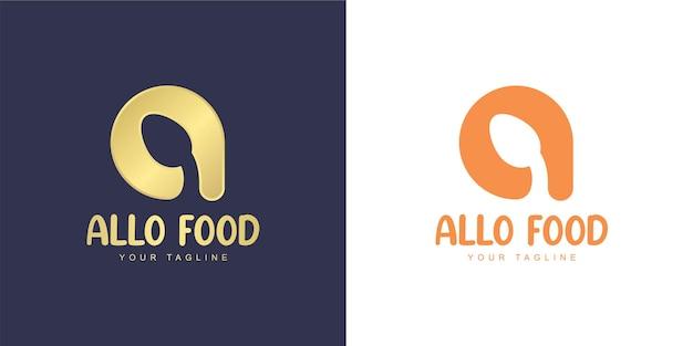 Logotipo da letra a com ícone de colher