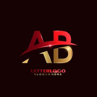 Logotipo da letra ab inicial com design swoosh para o logotipo da empresa e do negócio.