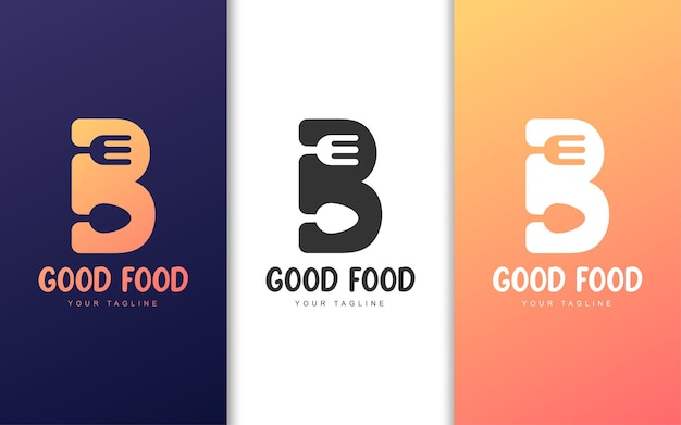 Logotipo da letra b com conceito de restaurante. conceito de logotipo de comida simples